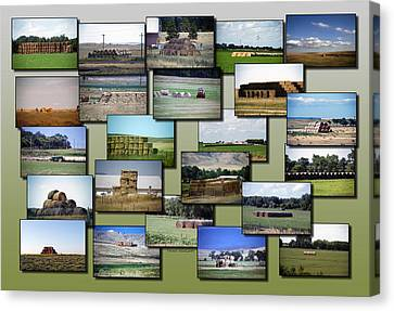 Rocky Mountain Hay Rolls Stacks Collage Canvas Print by Thomas Woolworth