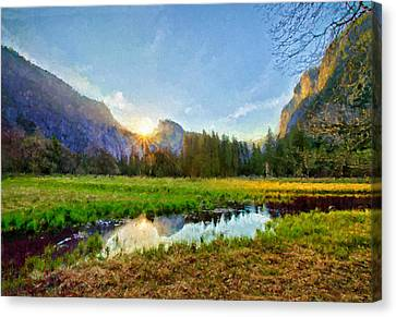 Rocky Mountain High Sunrise Painting Canvas Print