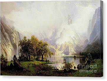 Rocky Mountain Landscape Canvas Print by Albert Bierstadt