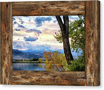 Rocky Mountain Longs Peak Rustic Cabin Window View Canvas Print by James BO Insogna