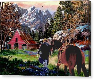 Home For The Night Canvas Print by Ron and Ronda Chambers