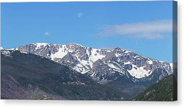 Rocky Mountain Waning Gibbous Moon Set Canvas Print by James BO Insogna