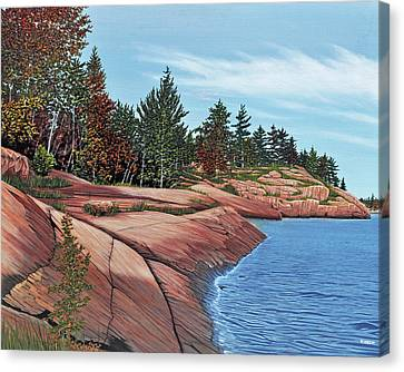 Canvas Print featuring the painting Rocky River Shore by Kenneth M Kirsch