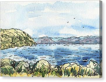 Canvas Print featuring the painting Rocky Shore Of The Bay by Irina Sztukowski