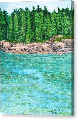 Maine Landscape Canvas Print - Rocky Shore by Ronine McIntyre