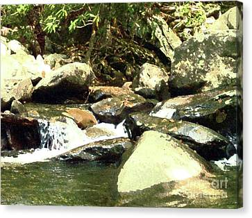Canvas Print featuring the mixed media Rocky Stream 5 by Desiree Paquette