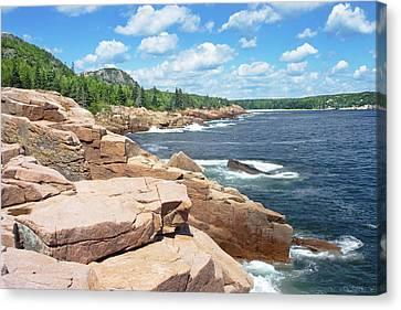 Rocky Summer Seascape Acadia National Park Photograph Canvas Print by Keith Webber Jr