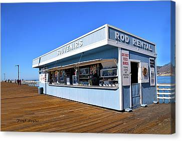 Canvas Print featuring the photograph Rod Rental At The Pismo Beach Pier by Floyd Snyder