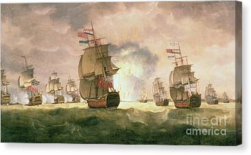 Rodney's Victory Off Cape St. Vincent  Canvas Print by Thomas Luny