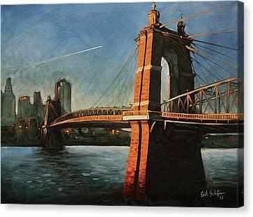 Roebling Bridge Canvas Print - Roebling Bridge No.1 by Erik Schutzman