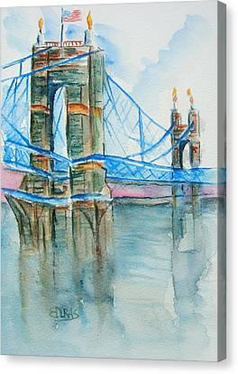 Roebling Bridge Canvas Print - Roebling On The Ohio River by Elaine Duras