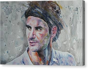Roger Federer - Portrait 5 Canvas Print
