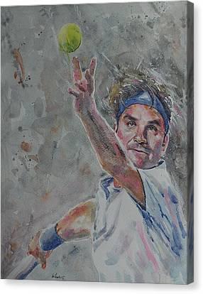 Roger Federer - Portrait 7 Canvas Print