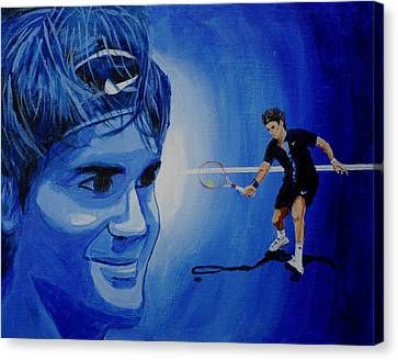 Roger Federer Canvas Print by Quwatha Valentine