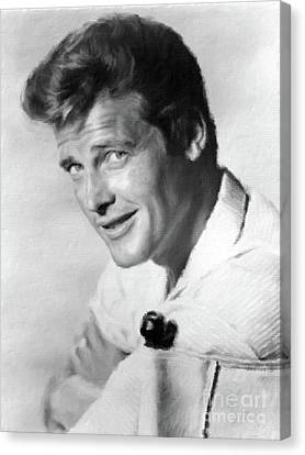 Roger Moore, Class Act Canvas Print by Mary Bassett