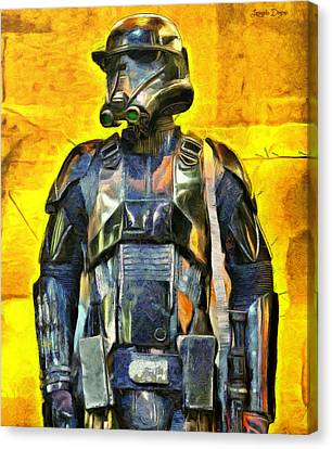 Soldiers Canvas Print - Rogue One Death Trooper Observing - Da by Leonardo Digenio