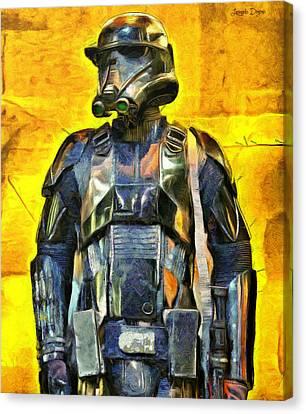 Rogue One Death Trooper Observing - Pa Canvas Print by Leonardo Digenio