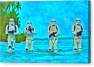 Hope Canvas Print - Rogue One Patrol In The Beaches - Da by Leonardo Digenio