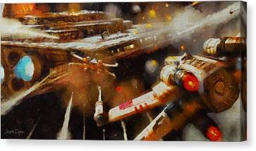 Rogue One X-fighter - Pa Canvas Print by Leonardo Digenio