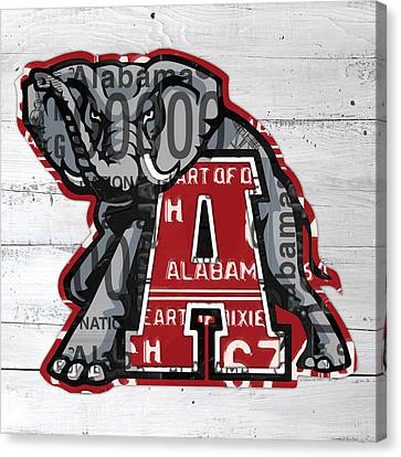Roll Tide Alabama Crimson Tide Recycled State License Plate Art Canvas Print