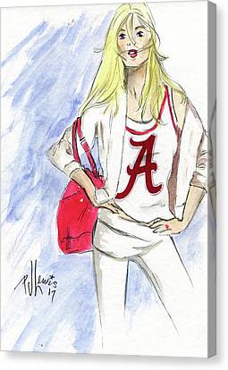 Canvas Print featuring the painting Roll Tide by P J Lewis