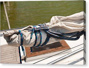 Sail Cloth Canvas Print - Rolled Up Mast Sail Cloth by Arletta Cwalina
