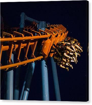 Roller Coaster Ride At Night Canvas Print by Robert Zeigler
