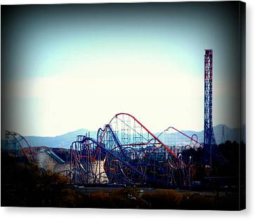 Roller Coasters At Twilight Canvas Print