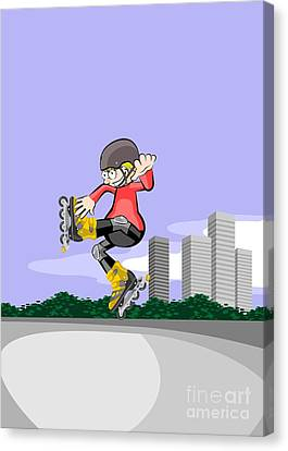 Skate Canvas Print - Rollerblader Child Jumping In The Skate Park by Daniel Ghioldi