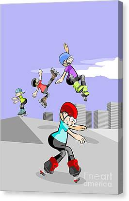 Skates Canvas Print - Rollerbladers Kids Jumping In The Skate Park by Daniel Ghioldi