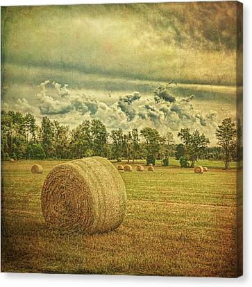 Canvas Print featuring the photograph Rollin' Hay by Lewis Mann