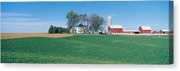 Rolling Farm Fields, Great River Road Canvas Print by Panoramic Images