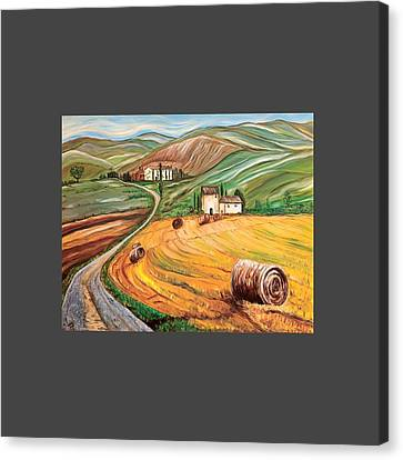 Rolling Fields Of Tuscany Canvas Print by Anupama Arora Mallik