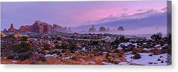 Rolling Mist Through Arches Canvas Print by Chad Dutson
