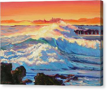 Canvas Print - Rolling Ocean Surf - Plein Air by David Lloyd Glover