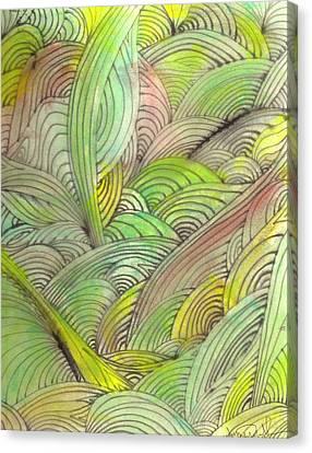 Rolling Patterns In Greens Canvas Print by Wayne Potrafka