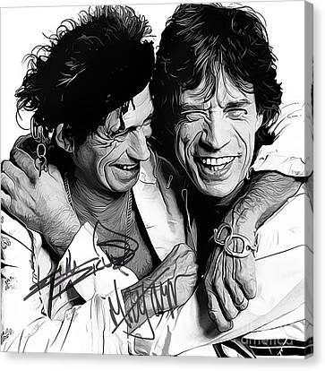 Rolling Stones Art With Autographs Canvas Print by Kjc
