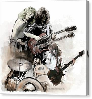 Canvas Print featuring the painting Rolling Thunder Led Zeppelin by Iconic Images Art Gallery David Pucciarelli