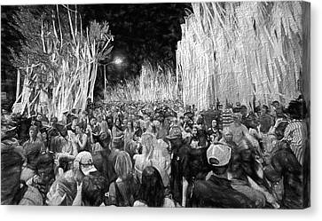 Toomers Oaks Canvas Print - Rolling Toomer's Black And White by JC Findley