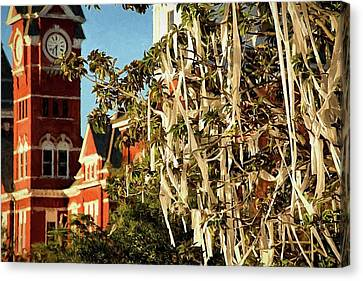 Toomers Oaks Canvas Print - Rolling Toomer's Corner And Samford Hall by JC Findley