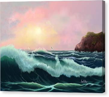 Canvas Print featuring the painting Rolling Waves by Sena Wilson