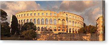 Roman Amphitheater At Sunset, Pula Canvas Print by Panoramic Images