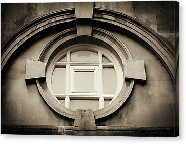 Roman Bath Window In Sepia Canvas Print by Tony Grider