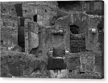 Canvas Print featuring the photograph Roman Colosseum Bw by Silvia Bruno