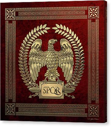 Canvas Print featuring the digital art Roman Empire - Gold Imperial Eagle Over Red Velvet by Serge Averbukh