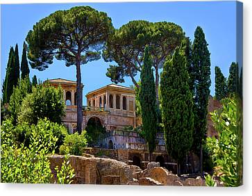 Canvas Print featuring the photograph Roman Forum Hillside  by Harry Spitz