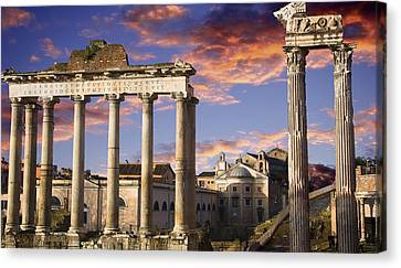 Roman Forum On Fire Canvas Print