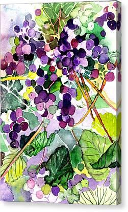 Vino Canvas Print - Roman Grapes by Mindy Newman