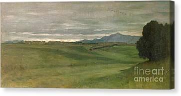 Campagne Romaine Canvas Print - Roman Landscape by Antoine Auguste Ernest Hebert