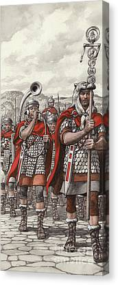 Roman Legions Marching Behind Their Standard Canvas Print by Pat Nicolle